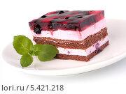 Купить «Кусок торта на белом фоне», фото № 5421218, снято 3 ноября 2011 г. (c) Natalja Stotika / Фотобанк Лори