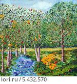 Купить «Лесной пейзаж, художественное масло, мастихиновая техника», иллюстрация № 5432570 (c) Ирина Иванова / Фотобанк Лори