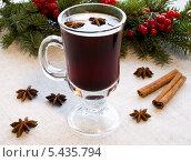 Купить «Глинтвейн с пряностями в бокале», фото № 5435794, снято 14 декабря 2013 г. (c) Елена Силкова / Фотобанк Лори