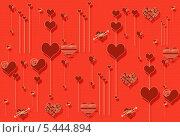 Купить «Красная открытка с сердцами», эксклюзивная иллюстрация № 5444894 (c) Svet / Фотобанк Лори