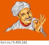 Повар на оранжевом фоне. Стоковая иллюстрация, иллюстратор Марк Назаров / Фотобанк Лори