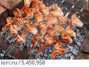 Куриные крылышки пекутся над углями. Стоковое фото, фотограф Щеголева Ольга / Фотобанк Лори