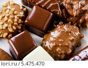 Купить «Несколько видов шоколадных конфет крупным планом», фото № 5475470, снято 8 января 2014 г. (c) Tatjana Baibakova / Фотобанк Лори
