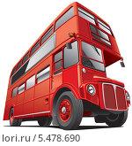 Купить «Красный двухэтажный автобус на белом фоне», иллюстрация № 5478690 (c) Геннадий Поддубный / Фотобанк Лори