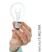 Купить «женская рука держит электрическую лампочку», фото № 5482994, снято 14 ноября 2013 г. (c) Syda Productions / Фотобанк Лори