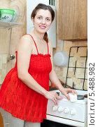 Купить «Счастливая молодая женщина моет плиту на кухне», фото № 5488982, снято 26 января 2013 г. (c) Яков Филимонов / Фотобанк Лори