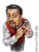 Парень с телефоном на белом фоне. Стоковое фото, фотограф Марк Назаров / Фотобанк Лори