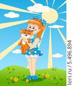 Девочка с котенком. Стоковая иллюстрация, иллюстратор Лариса К / Фотобанк Лори
