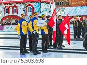 Купить «Открытие этапа Мирового тура по керлингу CCT Red Square Classic среди мужских команд на Красной Площади в Москве, на территории ГУМ-катка. Команда Канады», фото № 5503698, снято 20 января 2014 г. (c) Владимир Сергеев / Фотобанк Лори