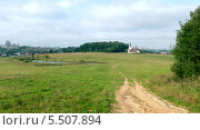 Купить «Панорама. стройка озеро церковь», фото № 5507894, снято 5 августа 2013 г. (c) Андрей Горбачев / Фотобанк Лори