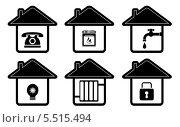 Купить «Иконки в виде домиков с бытовой техникой», иллюстрация № 5515494 (c) Александр Галата / Фотобанк Лори