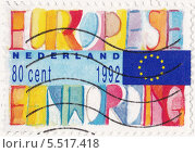 """Флаг Евросоюза и надпись """"Европейское объединение"""" на почтовой марке Нидерландов. Стоковая иллюстрация, иллюстратор Илюхина Наталья / Фотобанк Лори"""