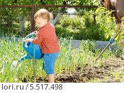 Купить «Мальчик поливает грядку с луком», фото № 5517498, снято 11 мая 2013 г. (c) Вячеслав Николаенко / Фотобанк Лори