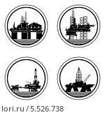 Значки с изображением буровых установок и нефтяных платформ. Иллюстрация на белом фоне. Стоковая иллюстрация, иллюстратор Сергей Скрыль / Фотобанк Лори