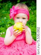Купить «Годовалая девочка ест яблочко», эксклюзивное фото № 5530002, снято 11 июля 2013 г. (c) Куликова Вероника / Фотобанк Лори