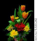 Купить «Букет цветов на черном фоне», фото № 5533242, снято 7 марта 2013 г. (c) Ласточкин Евгений / Фотобанк Лори