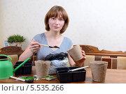 Купить «Молодая женщина подготавливает землю для рассады», фото № 5535266, снято 27 января 2014 г. (c) Марина Славина / Фотобанк Лори