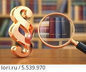 Купить «Концепция закона. Значок параграфа, лупа и книги», иллюстрация № 5539970 (c) Maksym Yemelyanov / Фотобанк Лори