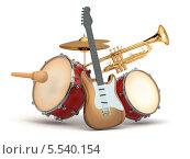 Купить «Музыкальные инструменты. Гитара, ударные и труба», иллюстрация № 5540154 (c) Maksym Yemelyanov / Фотобанк Лори