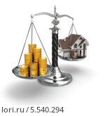 Купить «Стопки монет и дом на чашках весов», иллюстрация № 5540294 (c) Maksym Yemelyanov / Фотобанк Лори