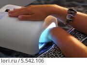 Купить «Ультрафиолетовая лампа для закрепления гелевого покрытия на ногтях», фото № 5542106, снято 16 июля 2012 г. (c) Losevsky Pavel / Фотобанк Лори