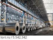 Купить «Рулоны алюминия в цехе завода», фото № 5542342, снято 4 мая 2012 г. (c) Losevsky Pavel / Фотобанк Лори