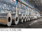 Ряд рулонов алюминия лежат на заводе. Стоковое фото, фотограф Losevsky Pavel / Фотобанк Лори