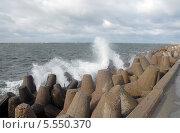 Купить «Волны разбиваются о северный мол. Балтийск, самая западная точка России», эксклюзивное фото № 5550370, снято 30 сентября 2012 г. (c) Svet / Фотобанк Лори