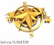 Купить «Золотой навигационный символ и карта мира», фото № 5554578, снято 19 августа 2019 г. (c) Maksym Yemelyanov / Фотобанк Лори