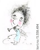 Ангел с дудочкой. Стоковая иллюстрация, иллюстратор Инна Багаева / Фотобанк Лори
