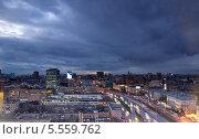 Купить «Вид сверху на вечернюю Москву», фото № 5559762, снято 31 октября 2013 г. (c) Liseykina / Фотобанк Лори