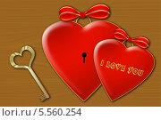 Два сердца с золотым ключиком на текстуре. Стоковое фото, фотограф Светлана Шаповалова / Фотобанк Лори