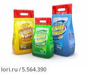 Купить «Стиральный порошок в пластиковых пакетах», иллюстрация № 5564390 (c) Maksym Yemelyanov / Фотобанк Лори