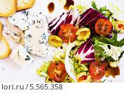 Купить «салат с сыром с голубой плесенью», фото № 5565358, снято 4 февраля 2013 г. (c) Food And Drink Photos / Фотобанк Лори