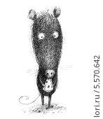 Мышь с кусочком сыра. Стоковая иллюстрация, иллюстратор Инна Багаева / Фотобанк Лори