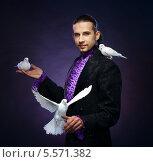 Купить «Молодой красивый маг с белыми голубями», фото № 5571382, снято 16 мая 2013 г. (c) Andrejs Pidjass / Фотобанк Лори