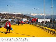 Купить «Пешеходная дорожка в Олимпийском парке, Сочи», фото № 5577218, снято 7 февраля 2014 г. (c) Юлия Бабкина / Фотобанк Лори