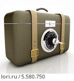 Купить «Кожаный чемодан с кодовым замком от сейфа», иллюстрация № 5580750 (c) Guru3d / Фотобанк Лори