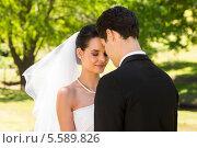 Купить «Romantic newlywed couple standing in park», фото № 5589826, снято 21 ноября 2013 г. (c) Wavebreak Media / Фотобанк Лори