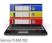 Архив. Ноутбук с папками вместо экрана. Стоковая иллюстрация, иллюстратор Maksym Yemelyanov / Фотобанк Лори