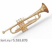 Купить «Золотая труба, изолированно на белом фоне», иллюстрация № 5593870 (c) Maksym Yemelyanov / Фотобанк Лори