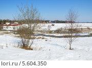 Купить «Весенний сельский пейзаж», эксклюзивное фото № 5604350, снято 16 апреля 2013 г. (c) Елена Коромыслова / Фотобанк Лори