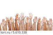 Купить «Много рук машут на белом фоне», фото № 5610338, снято 23 июля 2019 г. (c) Syda Productions / Фотобанк Лори