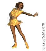 Купить «Афроамериканка на коньках», иллюстрация № 5612070 (c) Анна Павлова / Фотобанк Лори