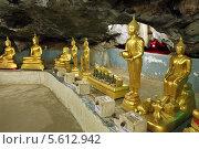 Подземный храм в пещере Као Пун (Wat Tham Khao Pun), Канчанабури, Королевство Таиланд (2013 год). Стоковое фото, фотограф Григорий Писоцкий / Фотобанк Лори