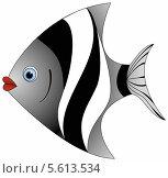 Черно-белая рыбка на белом фоне. Стоковая иллюстрация, иллюстратор Мария Борисова / Фотобанк Лори