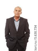 Купить «Пожилой мужчина в деловом костюме», фото № 5630734, снято 18 февраля 2014 г. (c) Andrejs Pidjass / Фотобанк Лори