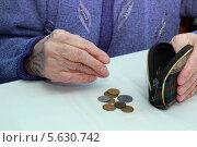 Руки пожилой бабушки, которая считает копейки. Стоковое фото, фотограф Шуба Виктория / Фотобанк Лори