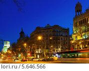 Купить «Почной пейзаж Passeig de Gracia в Барселоне», фото № 5646566, снято 27 марта 2019 г. (c) Яков Филимонов / Фотобанк Лори