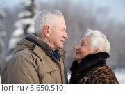 Купить «Пожилая пара на прогулке в зимнем парке», фото № 5650510, снято 20 января 2013 г. (c) Losevsky Pavel / Фотобанк Лори